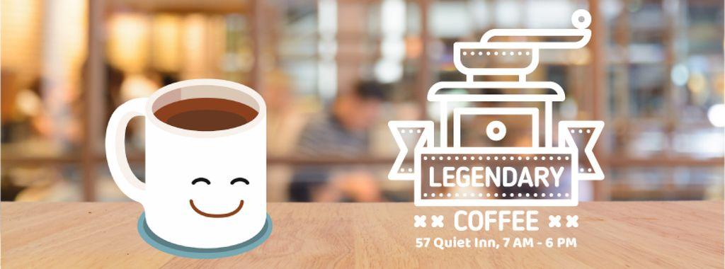 Happy cup of coffee in cafe — Crear un diseño
