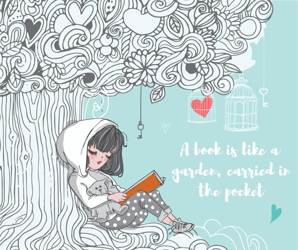 Little girl reading book — Створити дизайн