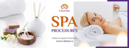 Plantilla de diseño de Woman Relaxing at Spa Facebook cover