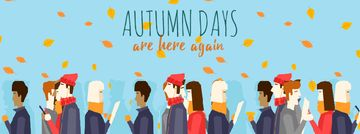 People Walking under Falling Autumn Leaves Facebook Video Cover