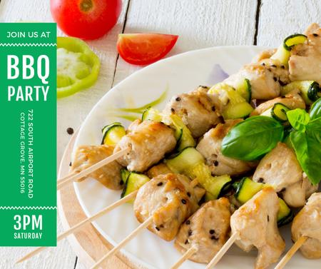 Szablon projektu BBQ Party Grilled Chicken on Skewers Facebook