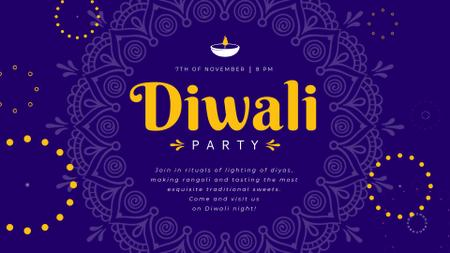 Diwali Party Invitation Mandala in Blue Full HD video Design Template