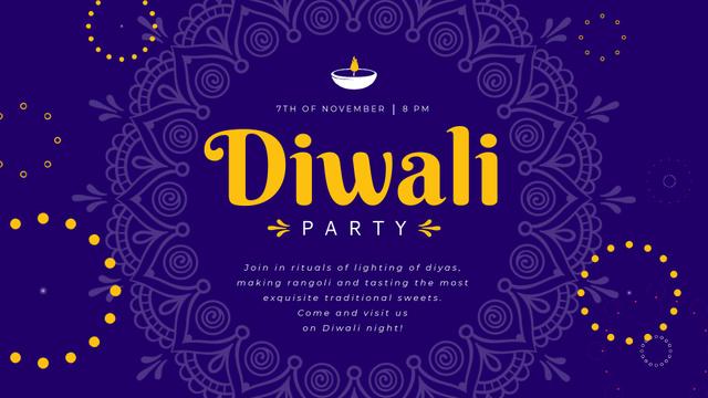 Diwali Party Invitation Mandala in Blue Full HD video – шаблон для дизайна