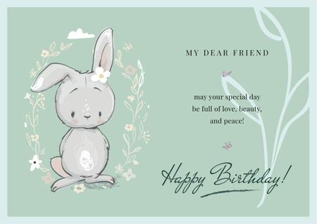 Plantilla de diseño de Birthday Greeting Cute Bunny in Flowers Card