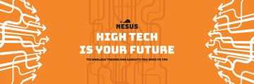 Technology Trends Arrows Pattern in Orange | Twitter Header Template