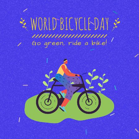 Cyclist riding Outdoors on Bicycle Day Animated Postデザインテンプレート