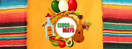 Template di design Cinco de Mayo Mexican holiday attributes Facebook Video cover