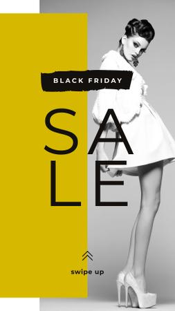 Template di design Black Friday Sale Young fashionable woman Instagram Story