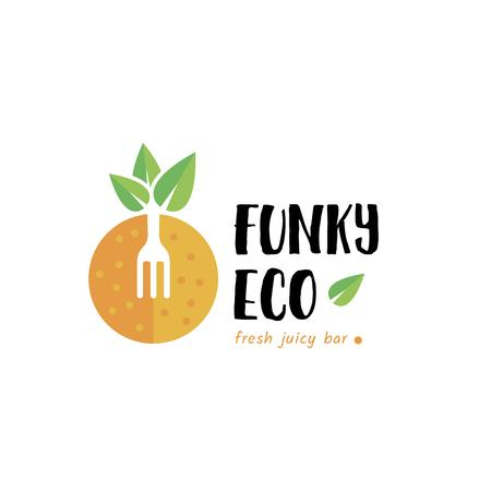 Template di design Juice Bar with Orange Fruit and Fork Logo
