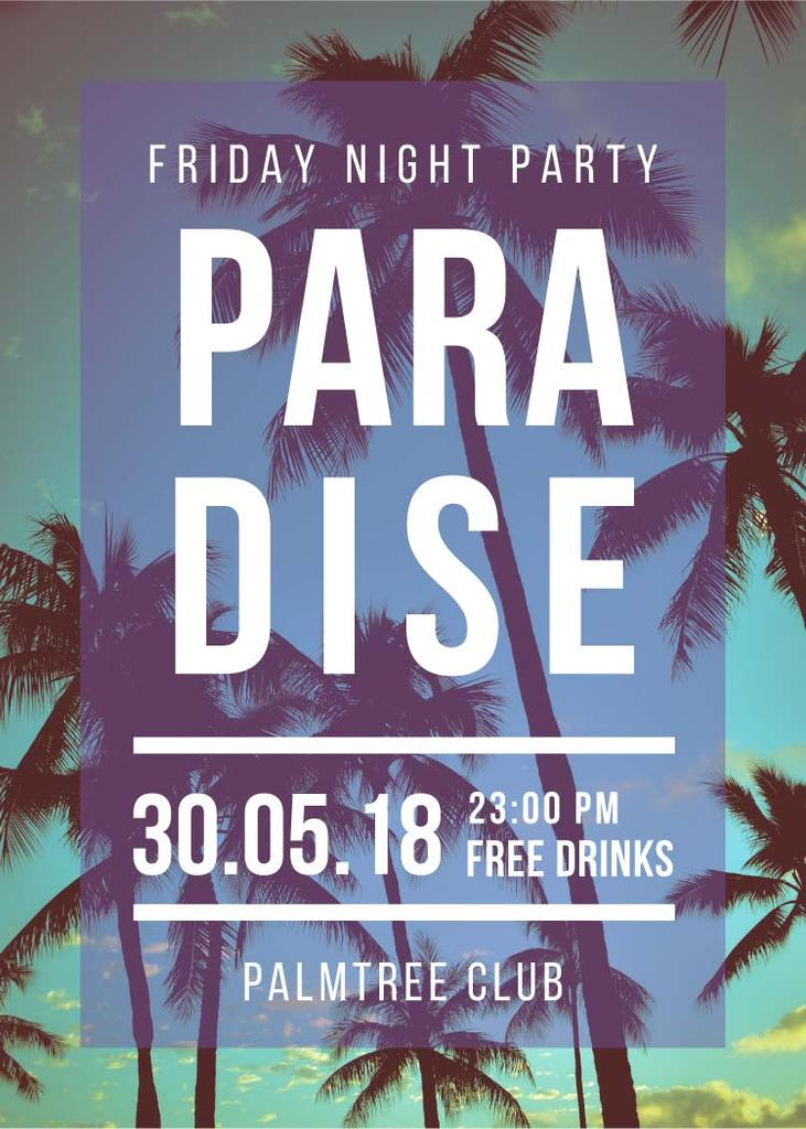 Night Party invitation on Tropical Palm Trees — Create a Design