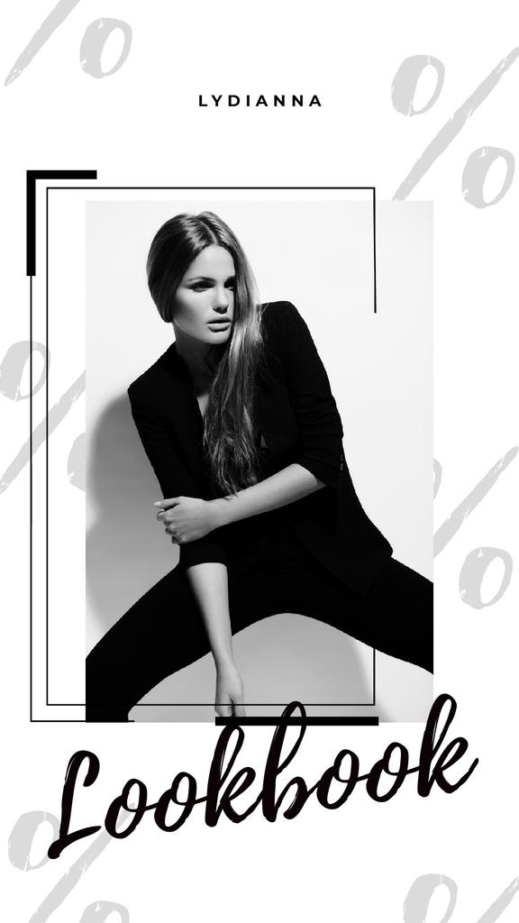 Woman in Black Outfit on White — Maak een ontwerp