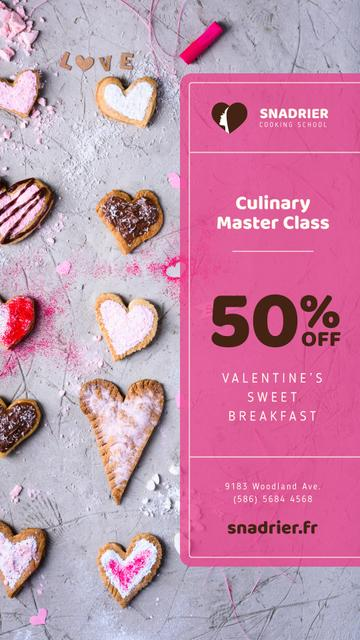 Culinary Master Class with Valentine's Cookies Instagram Story Modelo de Design