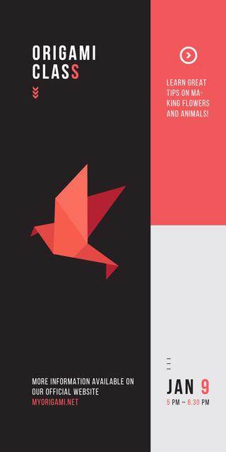Origami Classes Invitation Paper Bird in Red Graphic – шаблон для дизайна