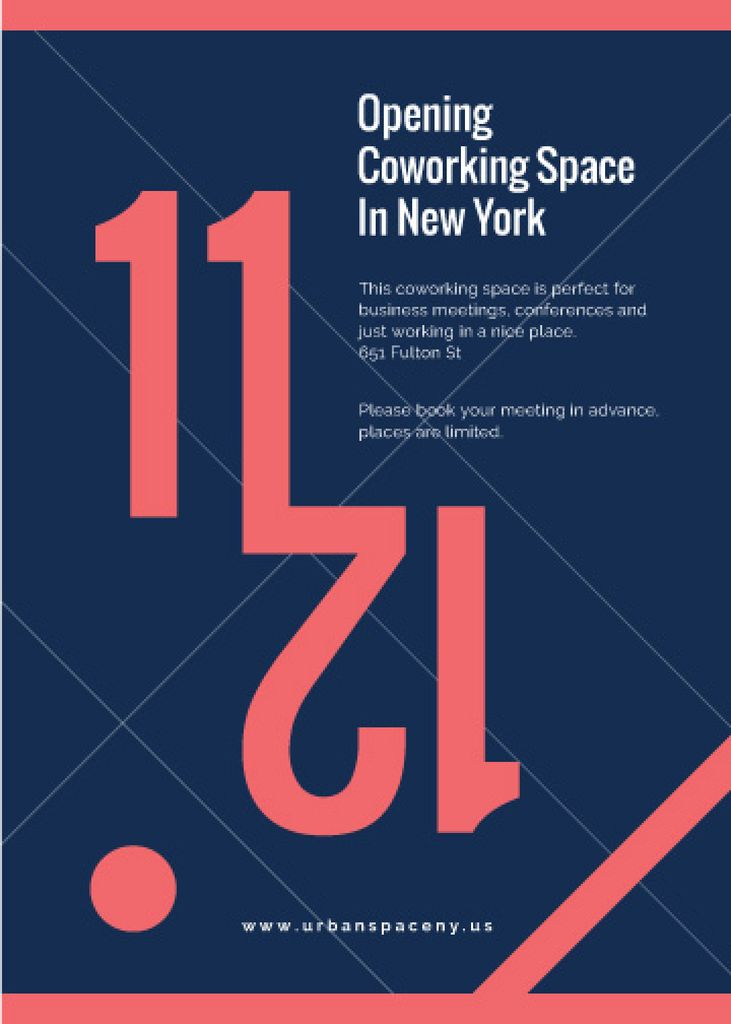 Coworking Opening Minimalistic Announcement in Blue and Red — Maak een ontwerp