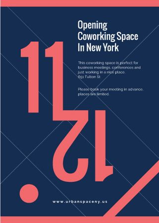 Coworking Opening Minimalistic Announcement in Blue and Red Flayer Modelo de Design