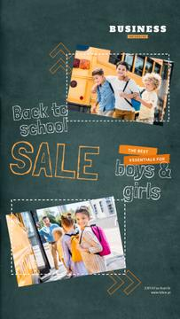 Back to School Sale Kids by School Bus | Vertical Video Template