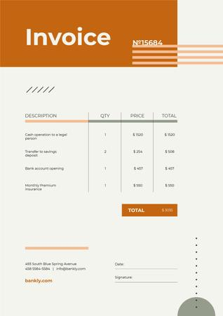 Ontwerpsjabloon van Invoice van Bank Services with Abstraction