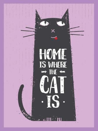 Cat Adoption Quote Funny Kitty in Purple Poster US Tasarım Şablonu