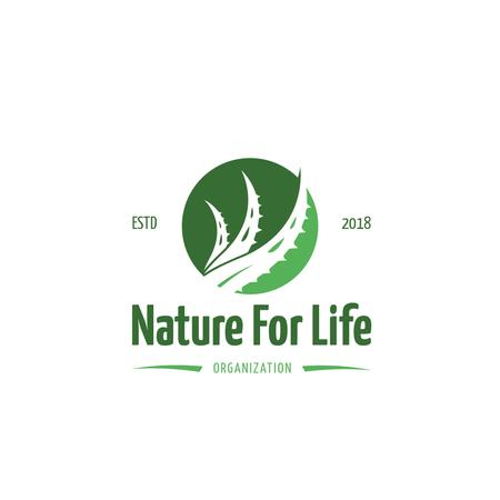 Template di design Ecological Organization with Leaf in Circle in Green Logo