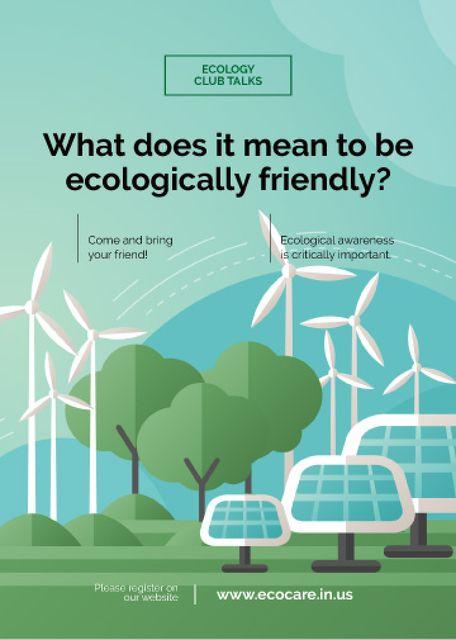 Ontwerpsjabloon van Flayer van Renewable Energy Wind Turbines and Solar Panels