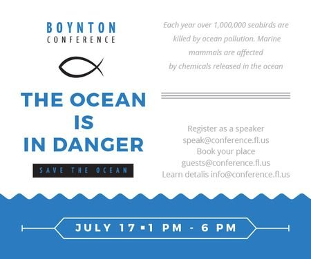 Ontwerpsjabloon van Large Rectangle van Boynton conference the ocean is in danger