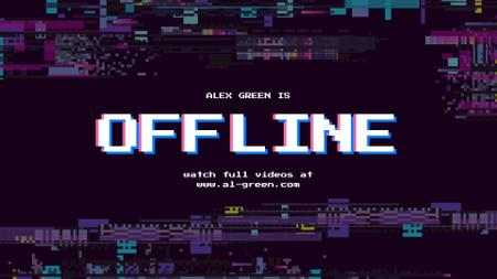 Stream Ad with Glitch Pattern Twitch Offline Banner – шаблон для дизайна
