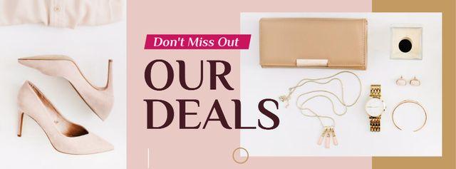 Plantilla de diseño de Stylish female pink accessories Facebook cover
