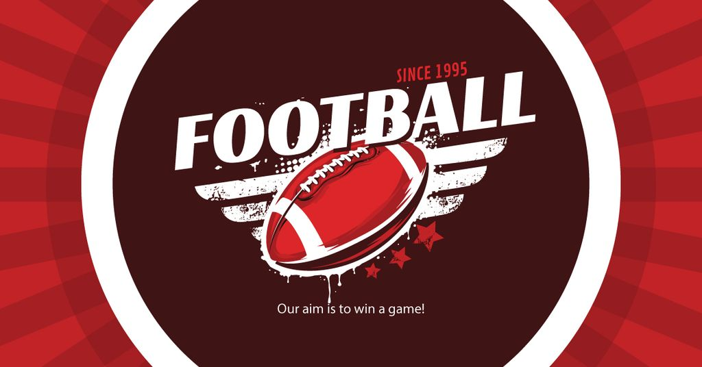 Football Event Announcement with Ball for Facebook Ad in Red — Create a Design