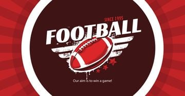 Football Event Announcement with Ball for Facebook Ad in Red