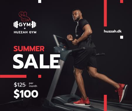 Plantilla de diseño de Gym Ticket Offer with Man on Treadmill Facebook