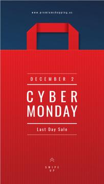 Cyber Monday Ad Red paper bag
