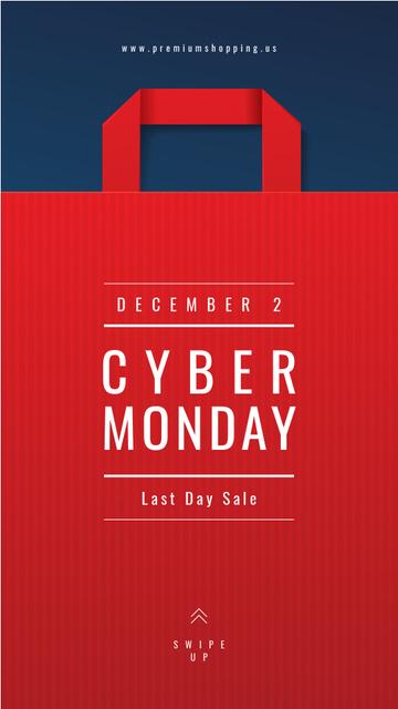 Cyber Monday Ad Red paper bag Instagram Story – шаблон для дизайну