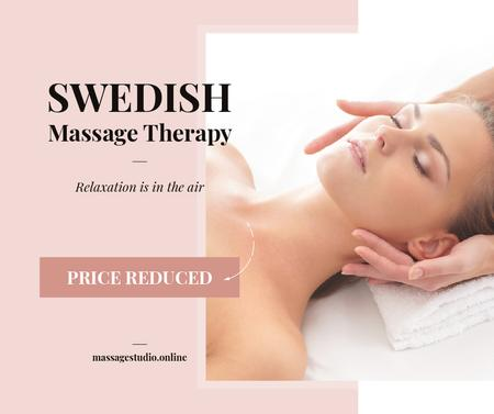 Plantilla de diseño de Woman at Swedish Massage Therapy Facebook