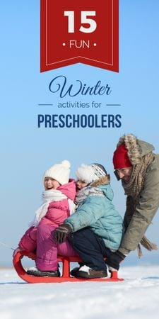 Plantilla de diseño de Father with kids having fun in winter Graphic
