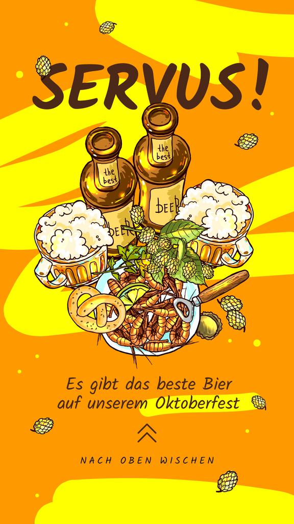 Oktoberfest Offer Beer Served with Snacks in Yellow — Crear un diseño