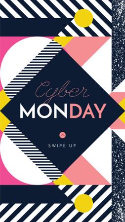 Modèle de visuel Cyber Monday sale on geometric pattern - Instagram Story