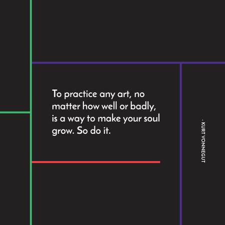 Plantilla de diseño de Citation about practice to any art Instagram
