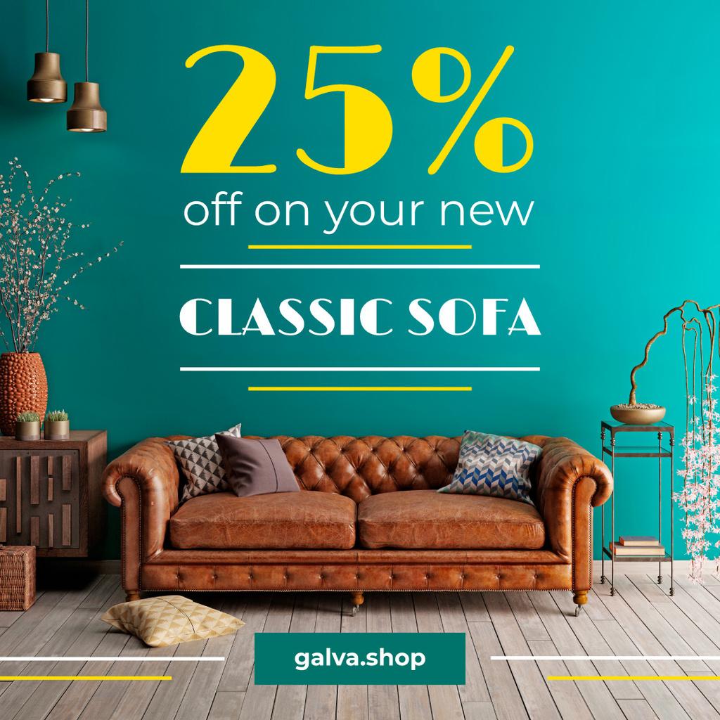 Furniture Sale Modern Room Design with Sofa | Instagram Post Template — Crear un diseño