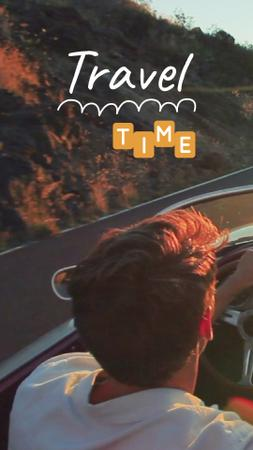 Plantilla de diseño de Travel Inspiration Man in Car on Road TikTok Video
