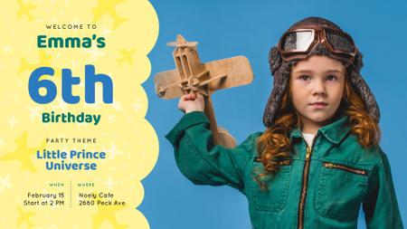 Ontwerpsjabloon van FB event cover van Kid Birthday invitation Girl playing with Plane