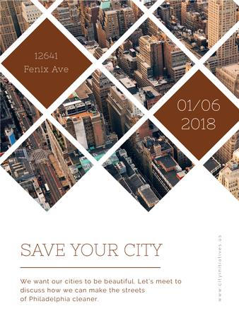 Urban event Invitation with Skyscrapers view Poster USデザインテンプレート