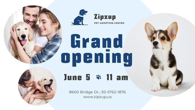 Ontwerpsjabloon van FB event cover van Pet Shelter Grand Opening announcement Dog with owners