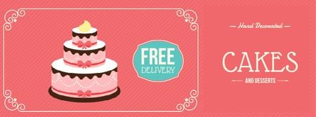 Modèle de visuel Bakery Ad with Layered Pink Cake - Facebook Video cover