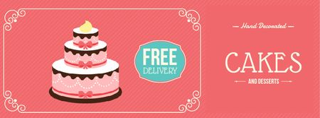 Designvorlage Bakery Ad with Layered Pink Cake für Facebook Video cover