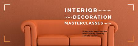 Plantilla de diseño de Interior Decoration Event Announcement Sofa in Red Twitter