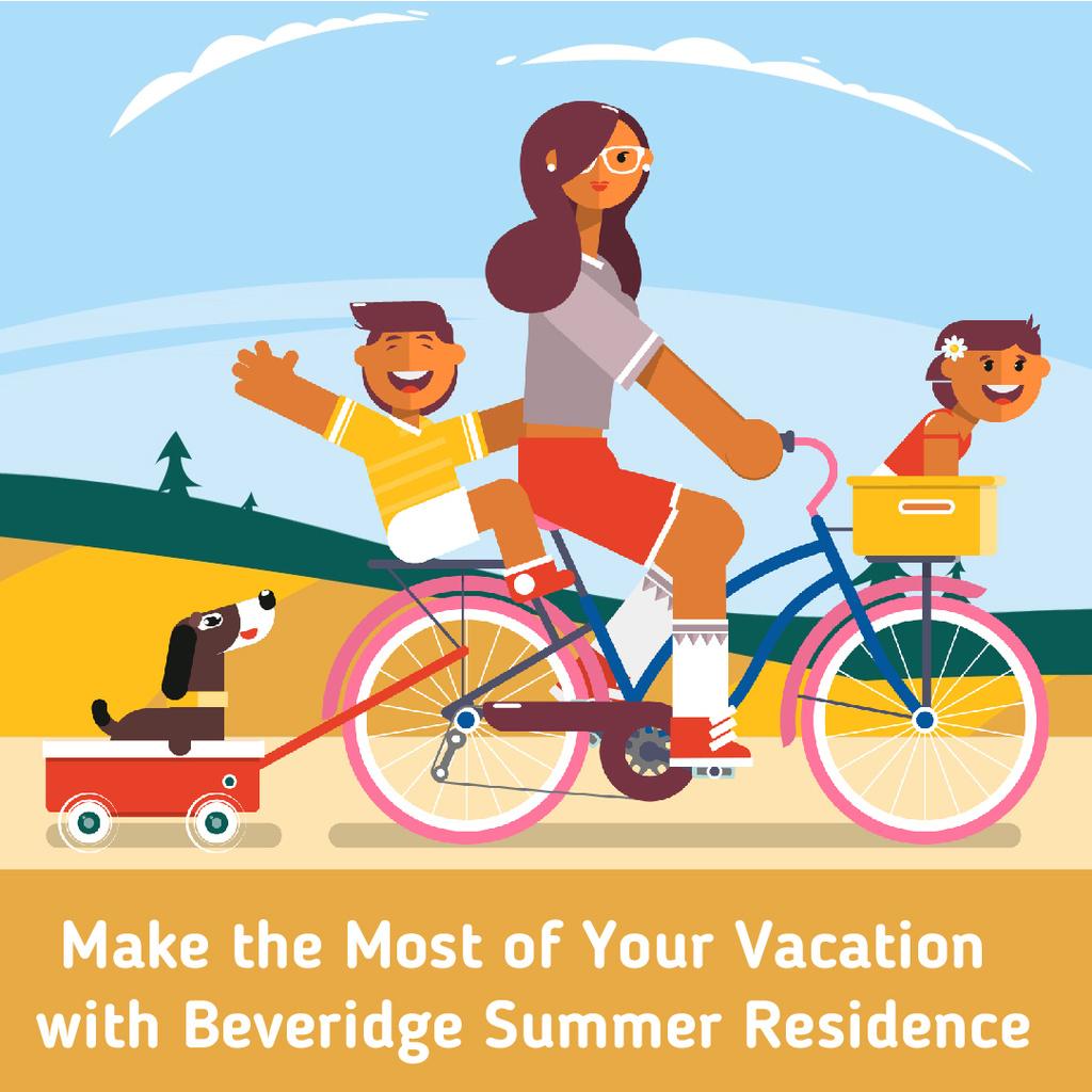 Family on a bicycle ride — Modelo de projeto