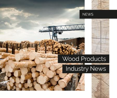 Wooden logs at sawmill Facebook Design Template