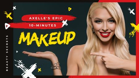 Makeup Tutorial Woman with Red Lips Pointing Youtube Thumbnail Modelo de Design