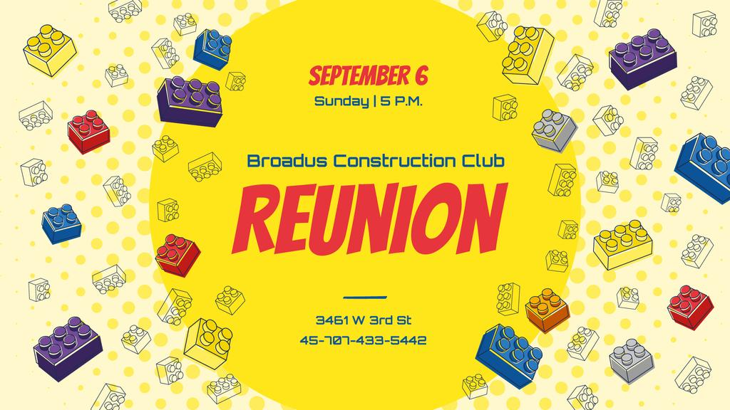 Plantilla de diseño de Construction Club Event Toy Constructor Bricks Frame FB event cover