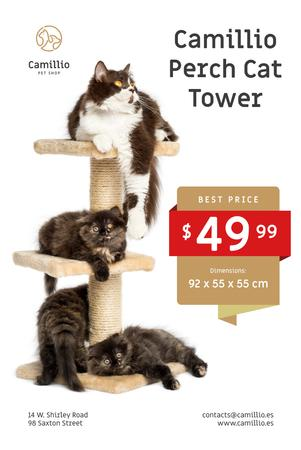 Ontwerpsjabloon van Pinterest van Pet Shop Offer with Cats Resting on Tower